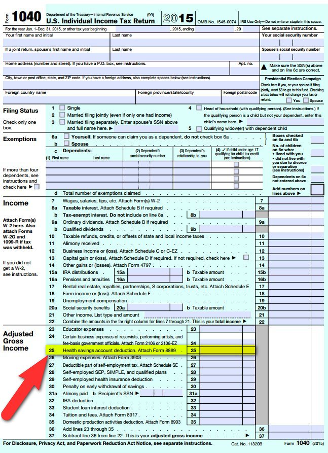 hsa deduction form 1040