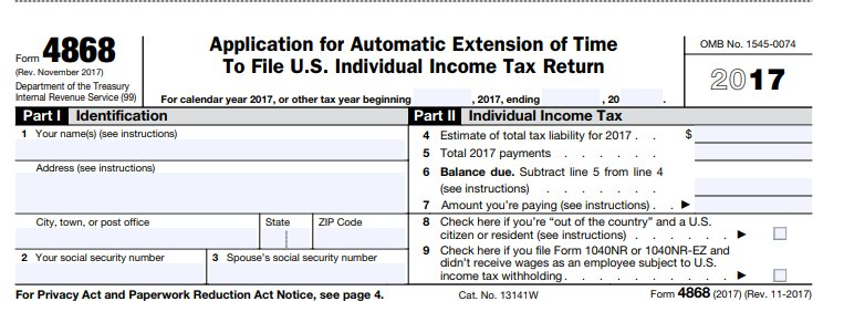 get extension on taxes 4868 irs