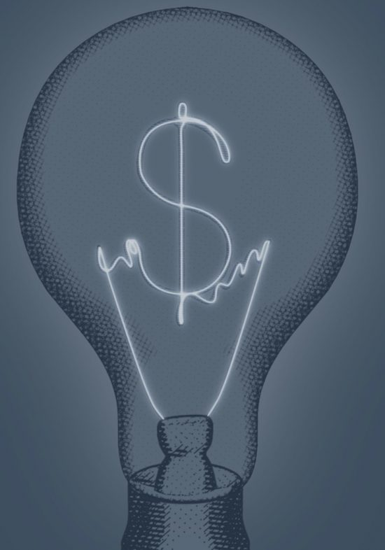 lightbulb with dollar signs