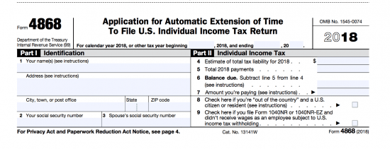 tax extension 2019 form 4868