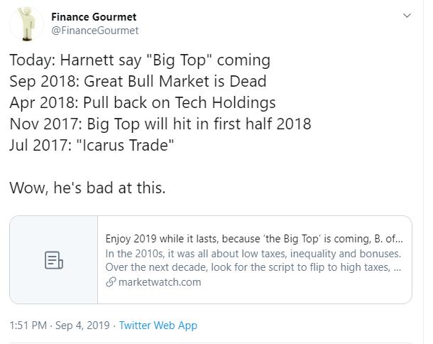 stock market predictions 2019 tweet